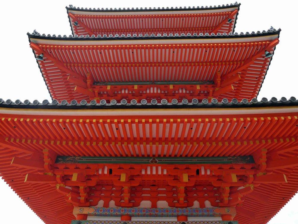 The vermillion tower within Kiyomizu-dera complex.