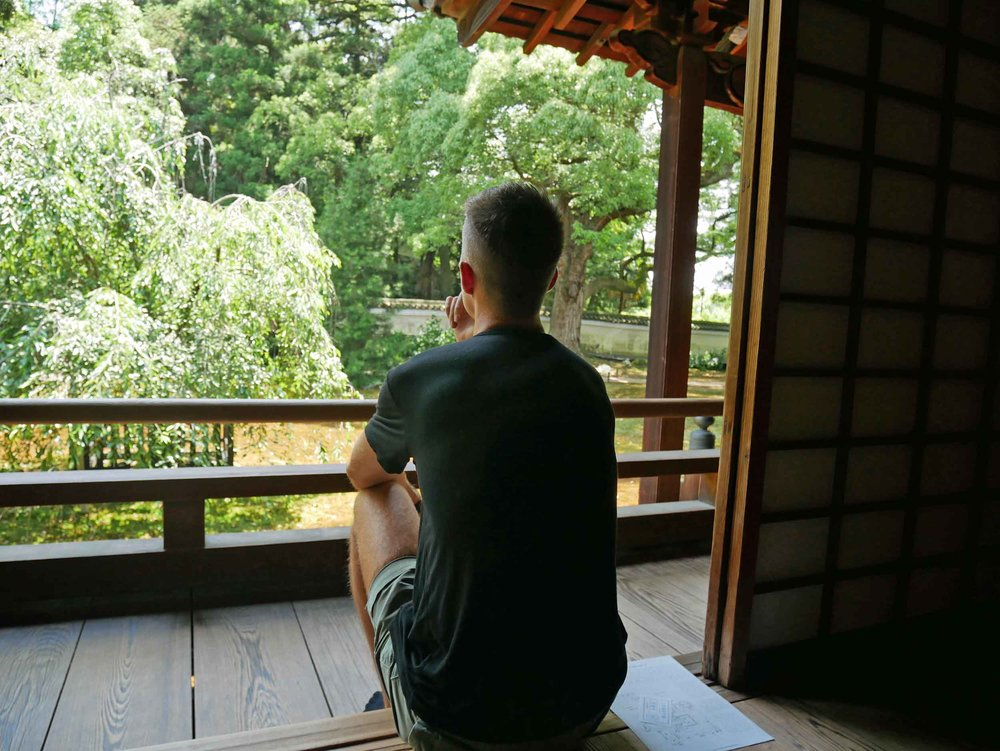 Trey pauses to reflect on the beautiful gardens of Shoren-in Monzeki.