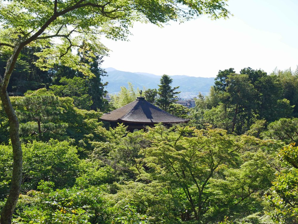 Beautiful view over the Kyoto valley from atop the Ginkaku-ju temple complex's upper fields.