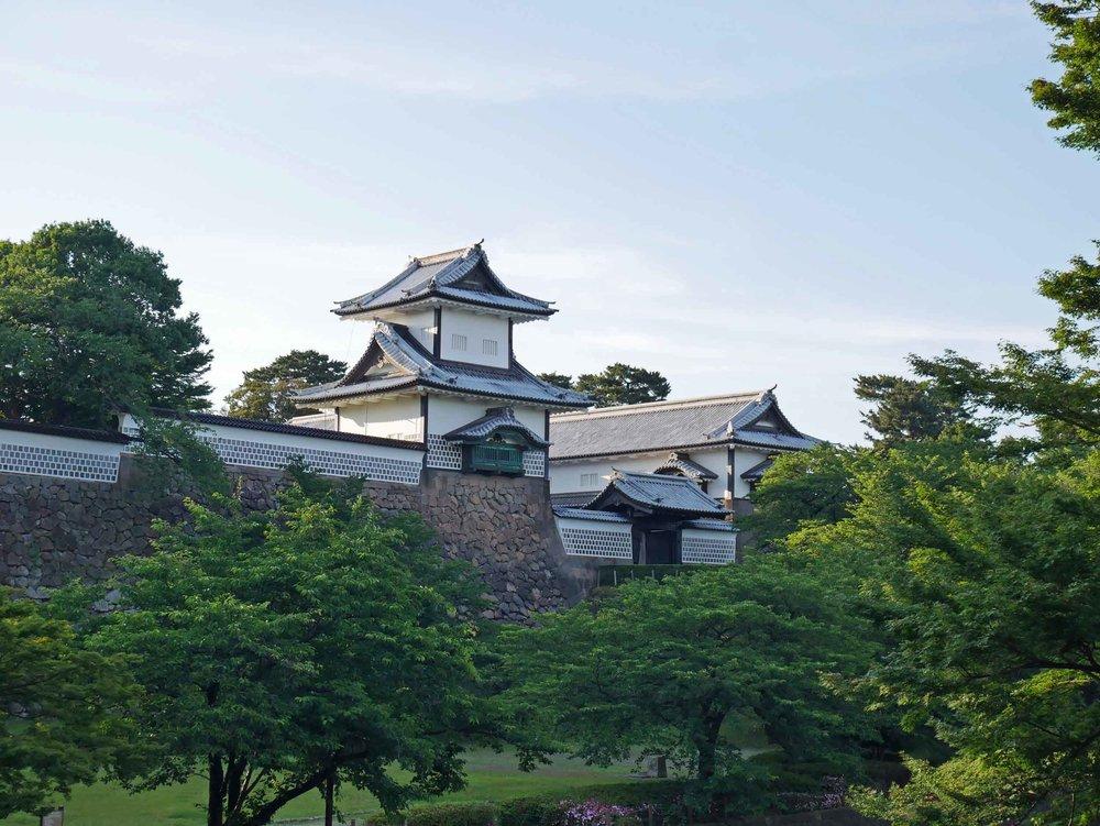 Taking in Kanazawa Castle and the waning sunshine.