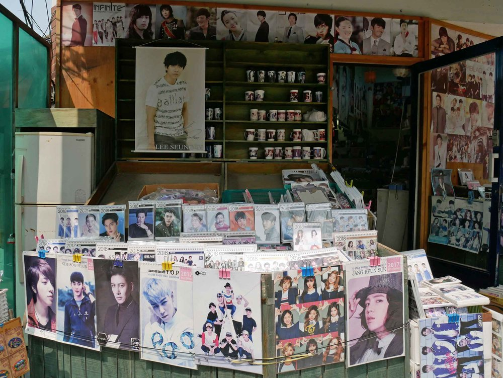K-Pop, or Korean pop music, is an obsession here, especially boy bands as this little shop demonstrates.