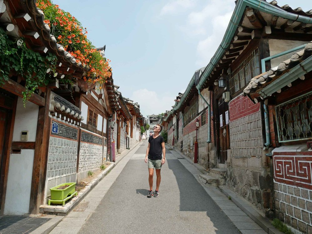 Our first morning in Seoul, we headed for Bukchon Hanok, the historic village of preserved Korean homes (June 29).