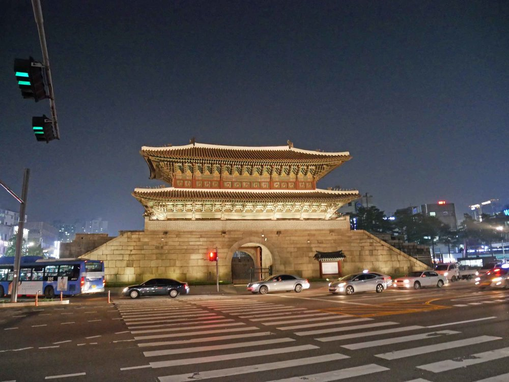 As we enjoyed the cooler summer evening air in Seoul, we passed Hyehwamun Gate, one of eight old fortress wall gates to the city.
