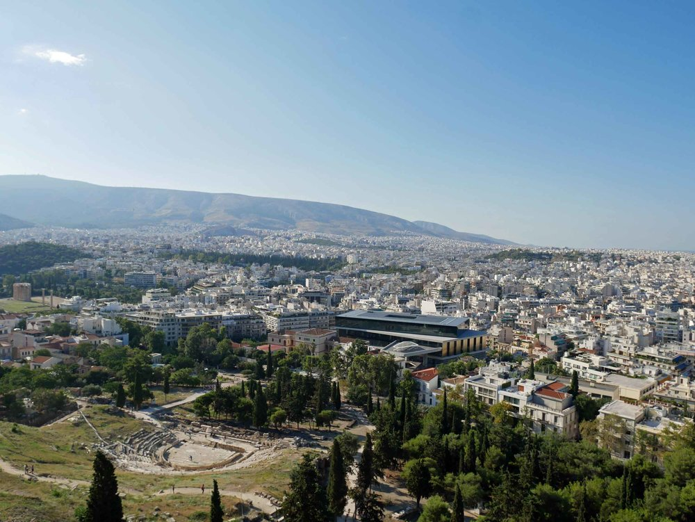 View from above of the Threatre of Dionysus, the god of plays and wine.