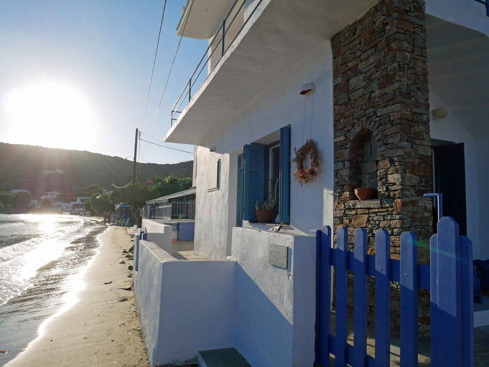 Our 'home' for the week on the quiet island of Sifnos, the gorgeous  Aerides Boutique Rooms  on Vathi beach was as close as it gets to beachfront.