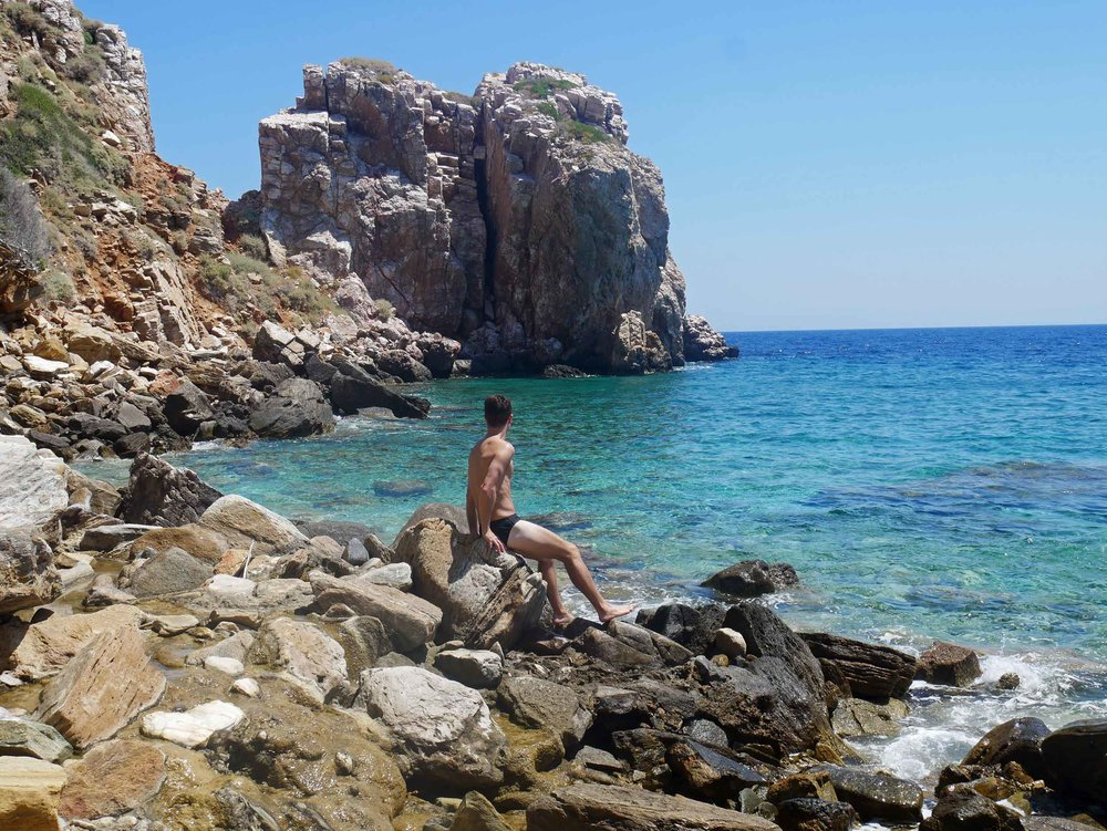 Martin taking a moment to enjoy the pristine waters of Panagia Poulati.
