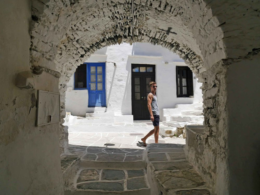 Beautiful stone archway in the medieval village of Kastro.