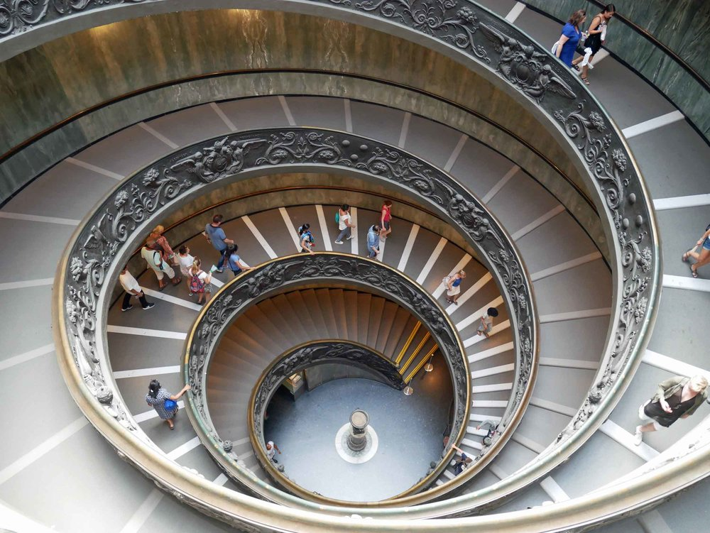 There was so much gilded beauty to behold at the Vatican museum, but we loved the simplicity of this spiral staircase.
