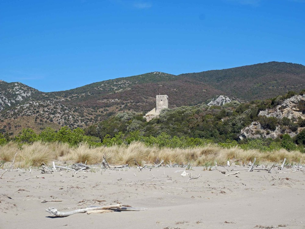 Maremma is rustic and wild beach with seagrass and driftwood dotting the long strip of sand and fortress towers and rust-colored hills beyond.