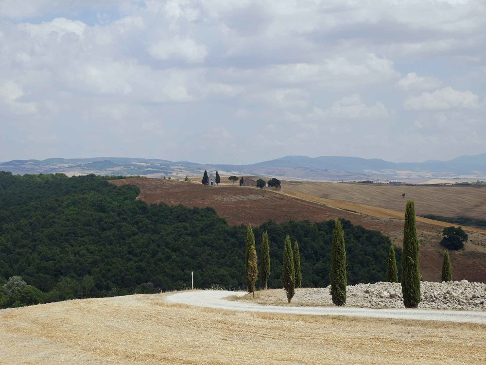 Pienza offered panoramic views across Val d'Orcia's classic Tuscan landscape.
