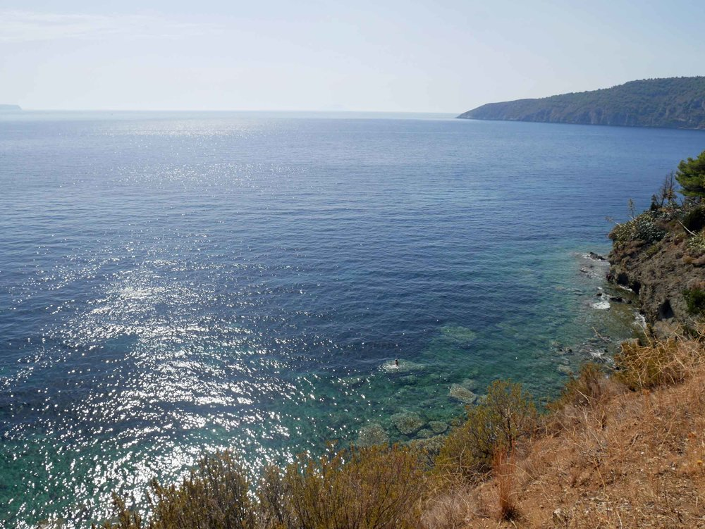 The panoramic view of the Adriatic as we made our way each morning to our little alcove on the shore.