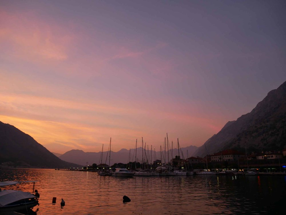 The winding 28 kilometre long Bay of Kotor produced some magical vibrant sunsets.