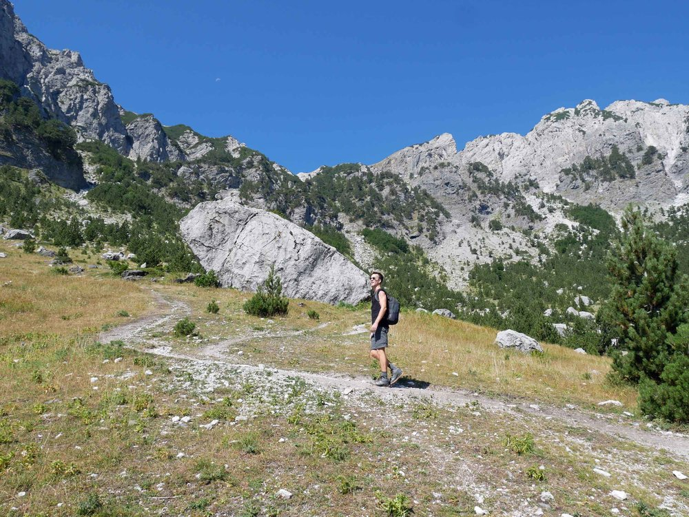 The next morning, we began our day-long trek from Valbona to Thethi, crossing the Accursed Mountains into the neighboring valley (Aug 15).
