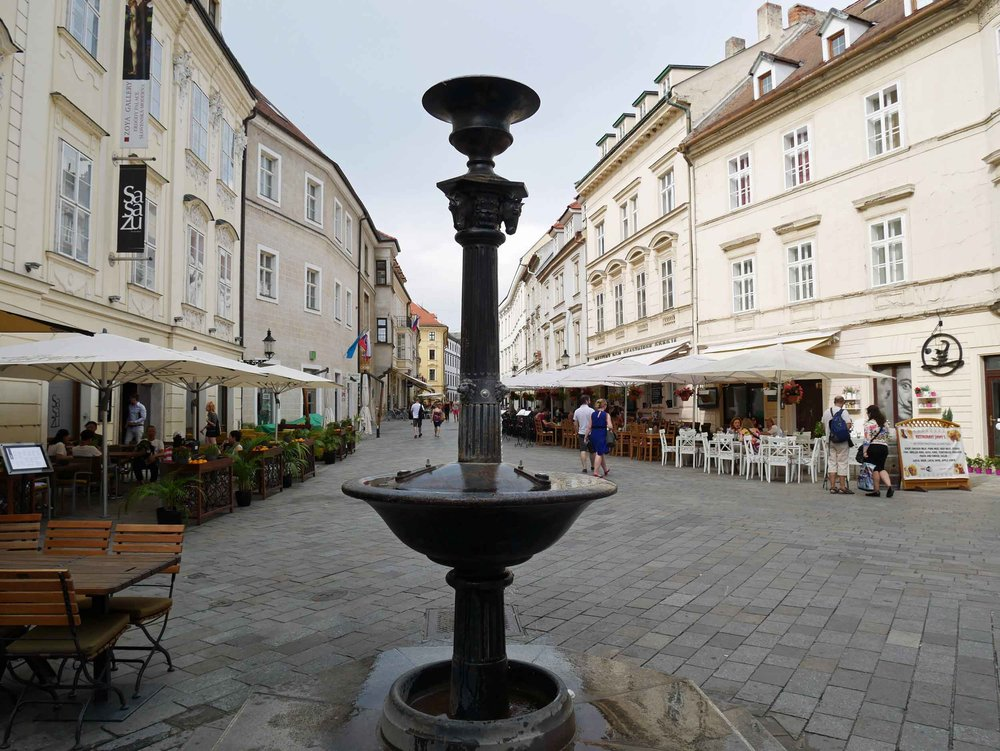 We ambled for hours around Bratislava's huge cobblestone pedestrian zone.