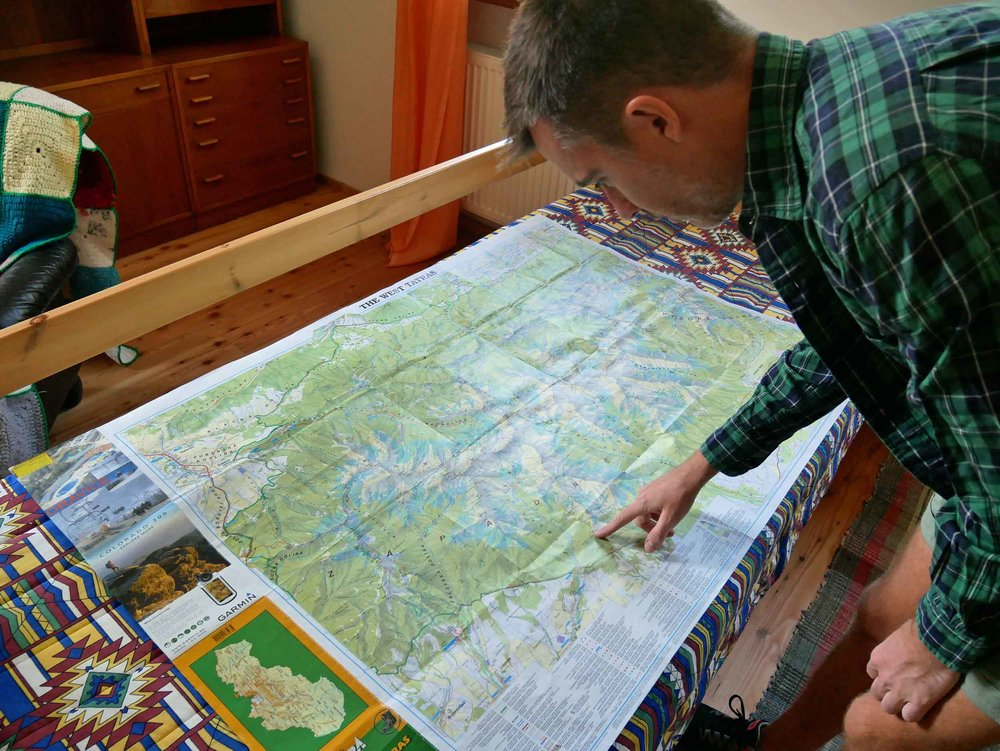 Trey helped map our adventure in the Western Tatras before we left our little country cottage for a day of hiking (Aug 29).