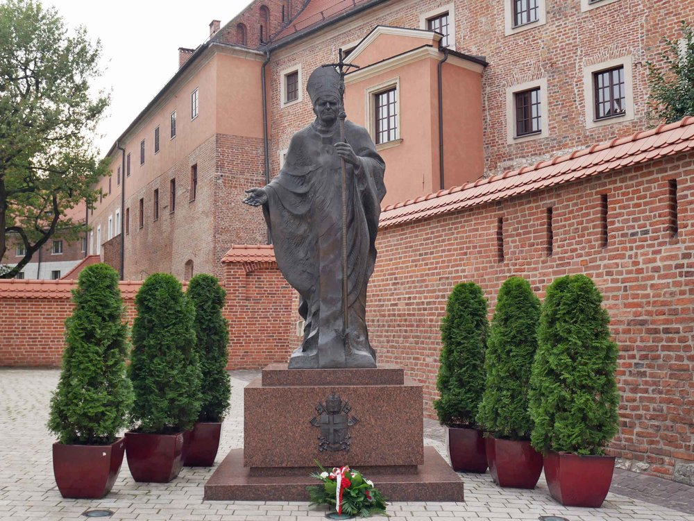 Statue of St. John Paul II, who hails from Poland, outside of Wawel Cathedral.