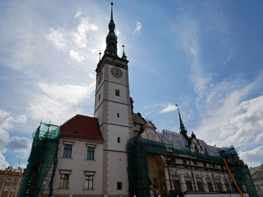 Stopping for coffee in Olomouc, we visited the historic Town Hall, which we found under repair (Sept 4).