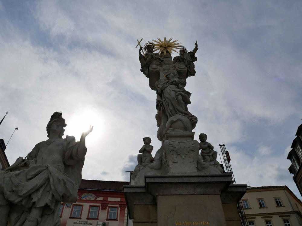 Like its nearby neighbor, Brno also features an impressive Holy Trinity Column in its Cabbage Market Square.