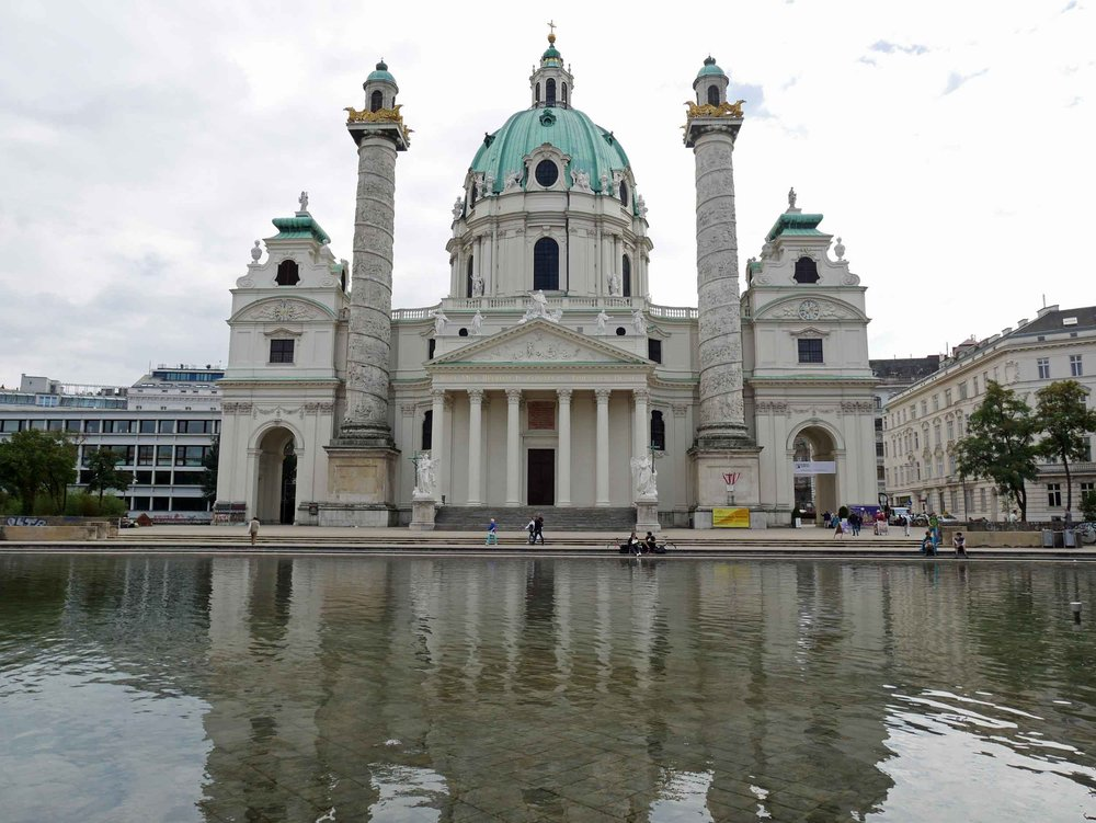 Opulent Karlskirche (St. Charles's Church) is a baroque church located on the south side of Karlsplatz in Vienna (Sept 6).