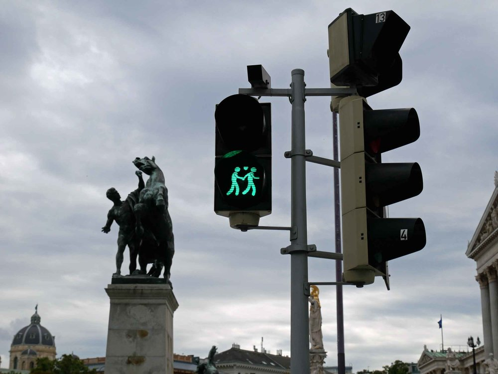 Gay, lesbian and straight couples adorn 120 crosswalk lights of Vienna, a sign of the city's open-mindedness.