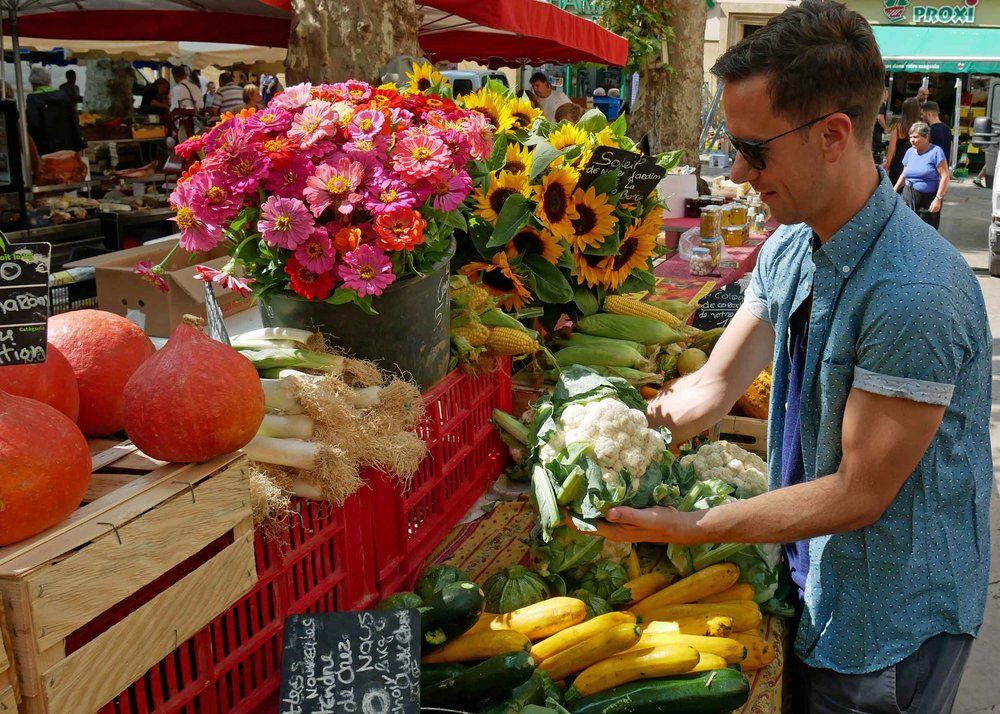 Martin exploring the local produce on offer at our favorite farmer's market in Aix-en-Provence (Sept 8).