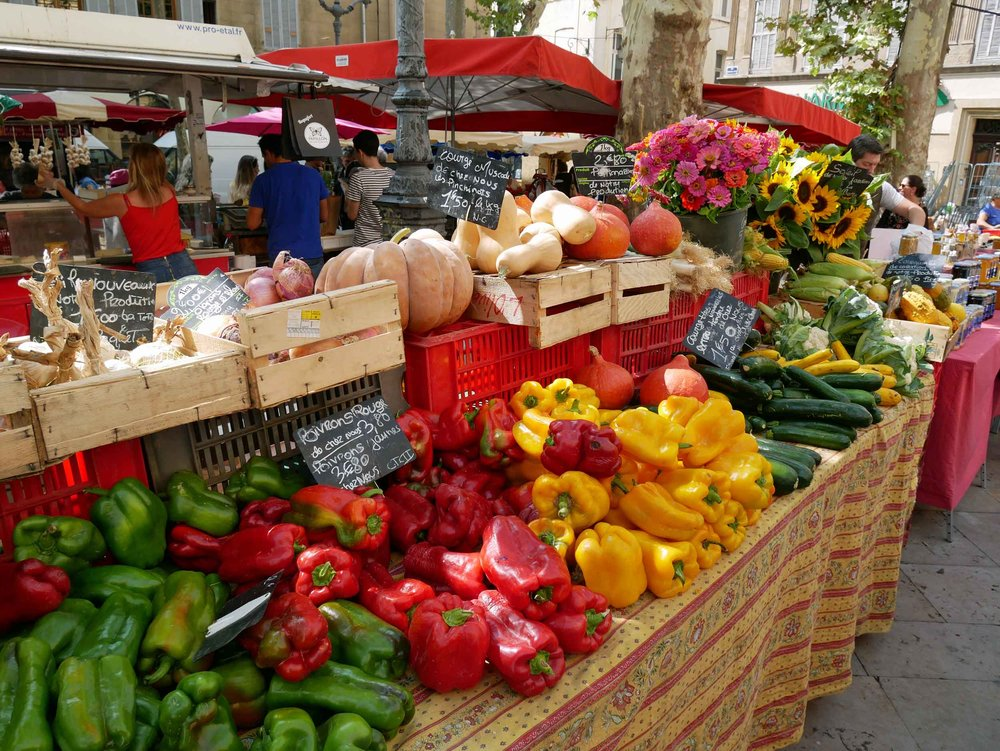 Our kind of heaven – the Aix-en-Provence fruit and vegetable market (Sept 8).