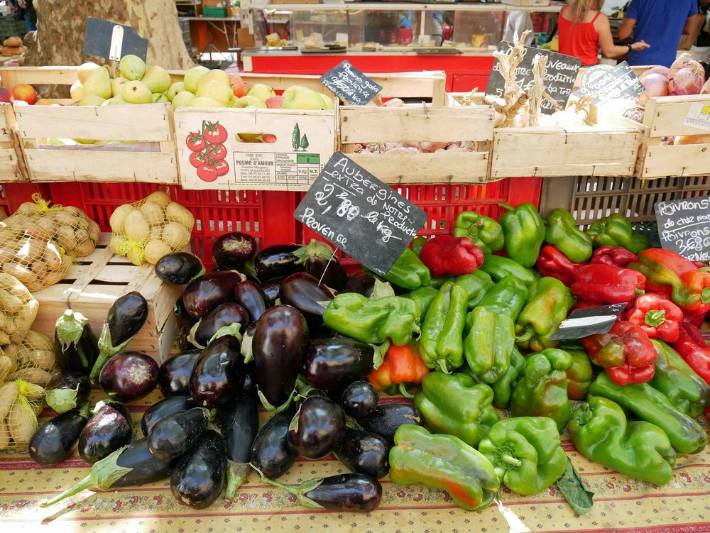 Every day is market day in Aix! We happened upon the fruit and vegetable farmer's market several times while in town.