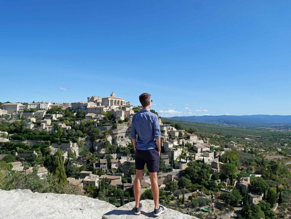 Trey taking in the picturesque view of Gordes, considered one of the most beautiful villages in all of France.