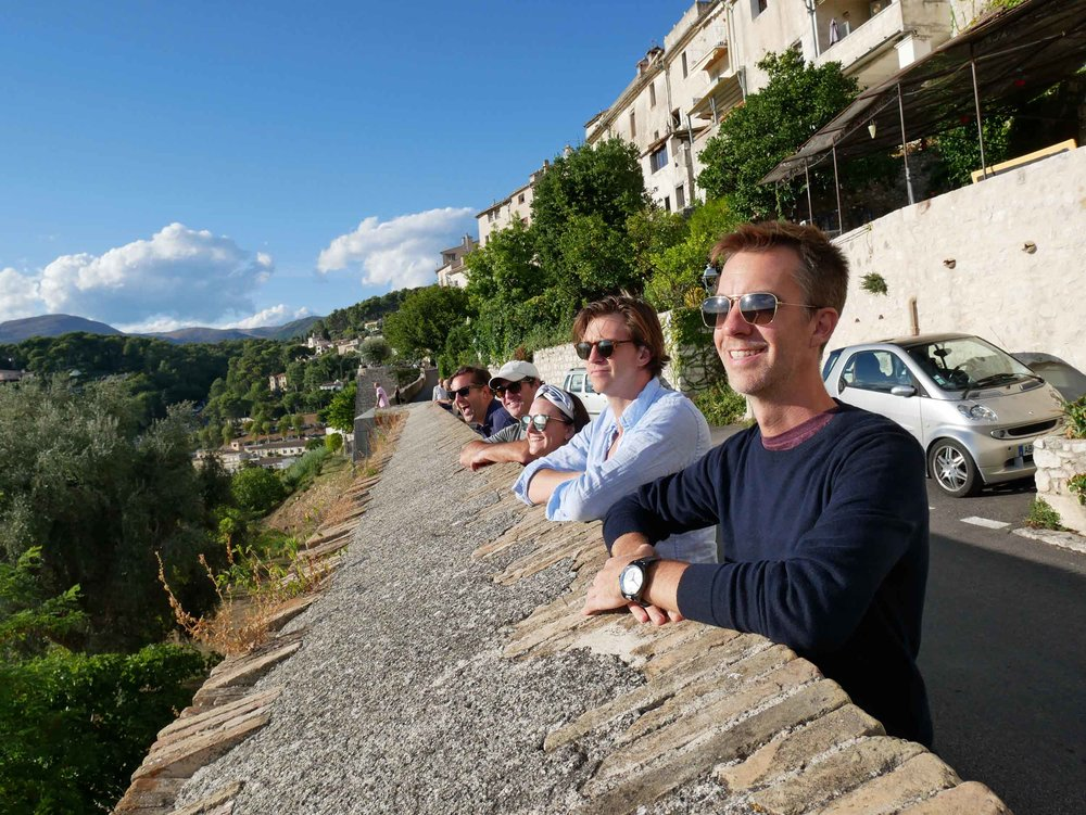 The crew taking in the evening sun in St. Paul de Vence.