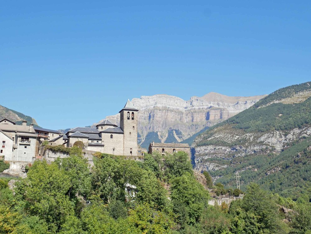 The breathtaking view of Ordesa y Monte Perdido National Park from the Spanish gateway town of Torla.