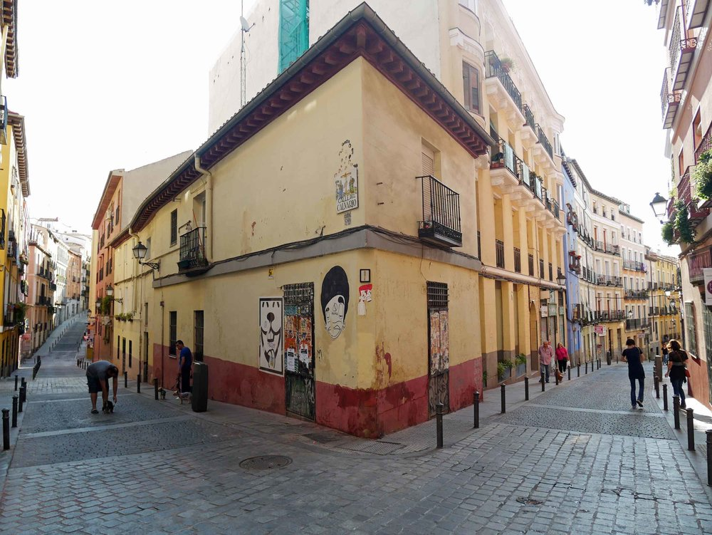 The cobbled streets of Madrid's colorful and multi-cultural Lavapiés neighborhood.
