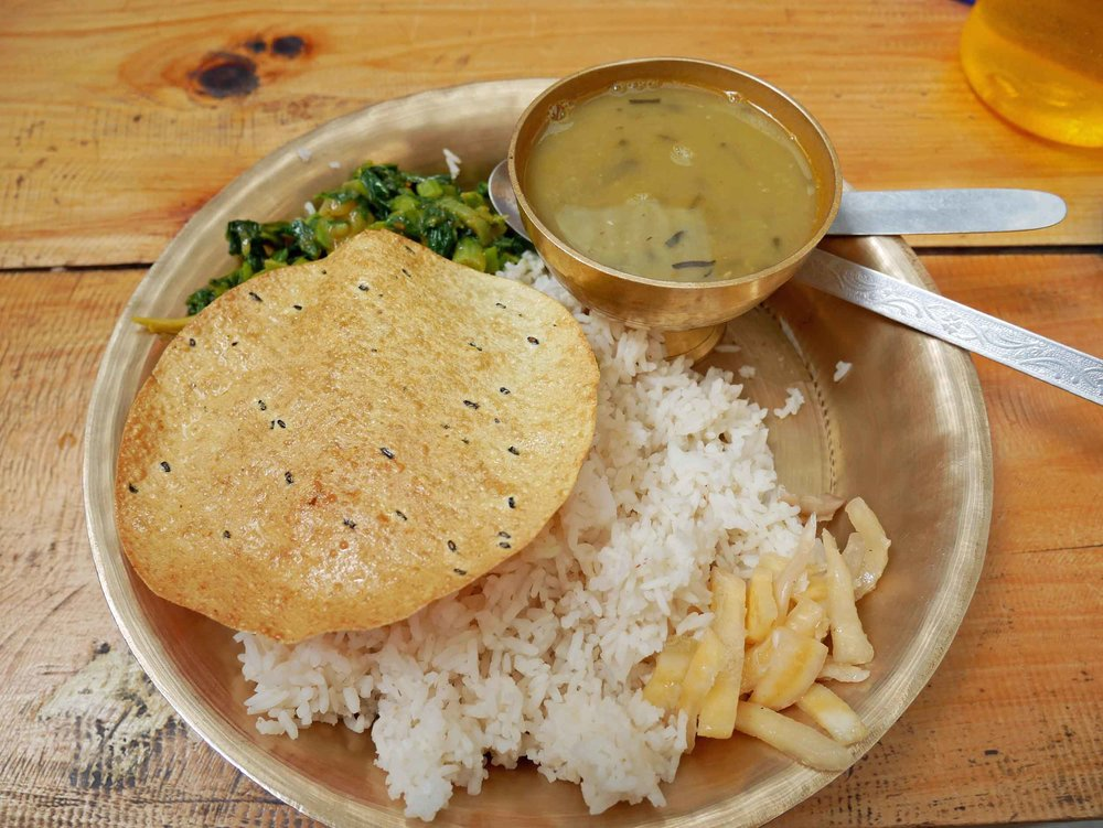 Our daily  dal bhat  – each guesthouse has their own take on the intentionally simple meal of rice and lentils.