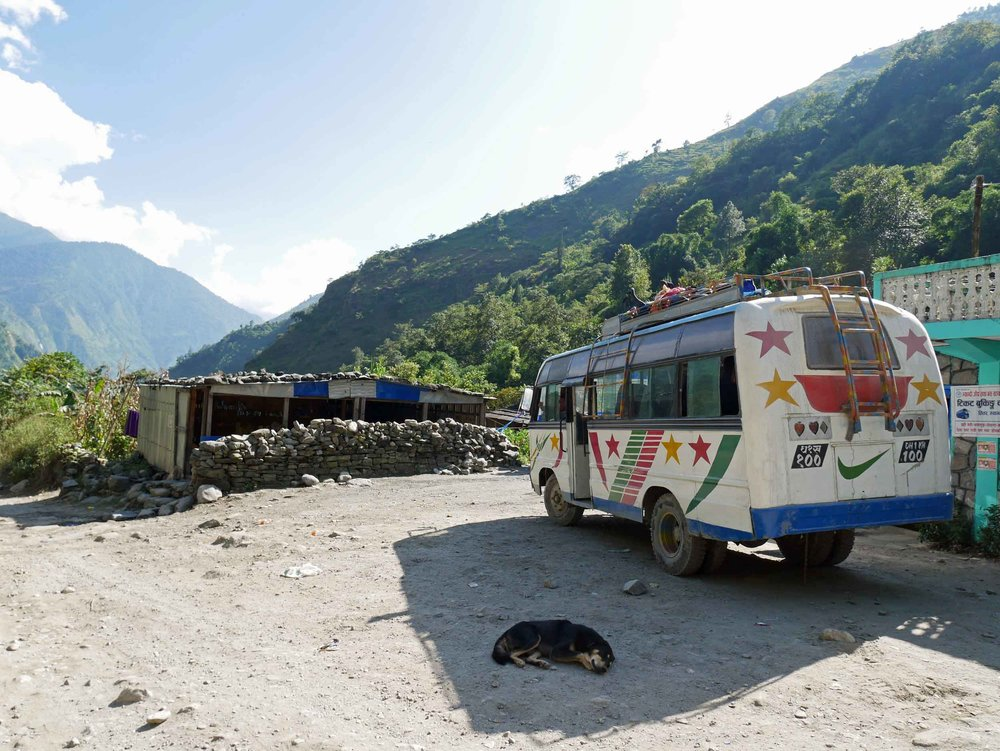Our 17-hour return journey was largely spent on this shock-less artifact of a bus. We highly encourage you to take the short flight from Jomsom to Pokhara, instead.