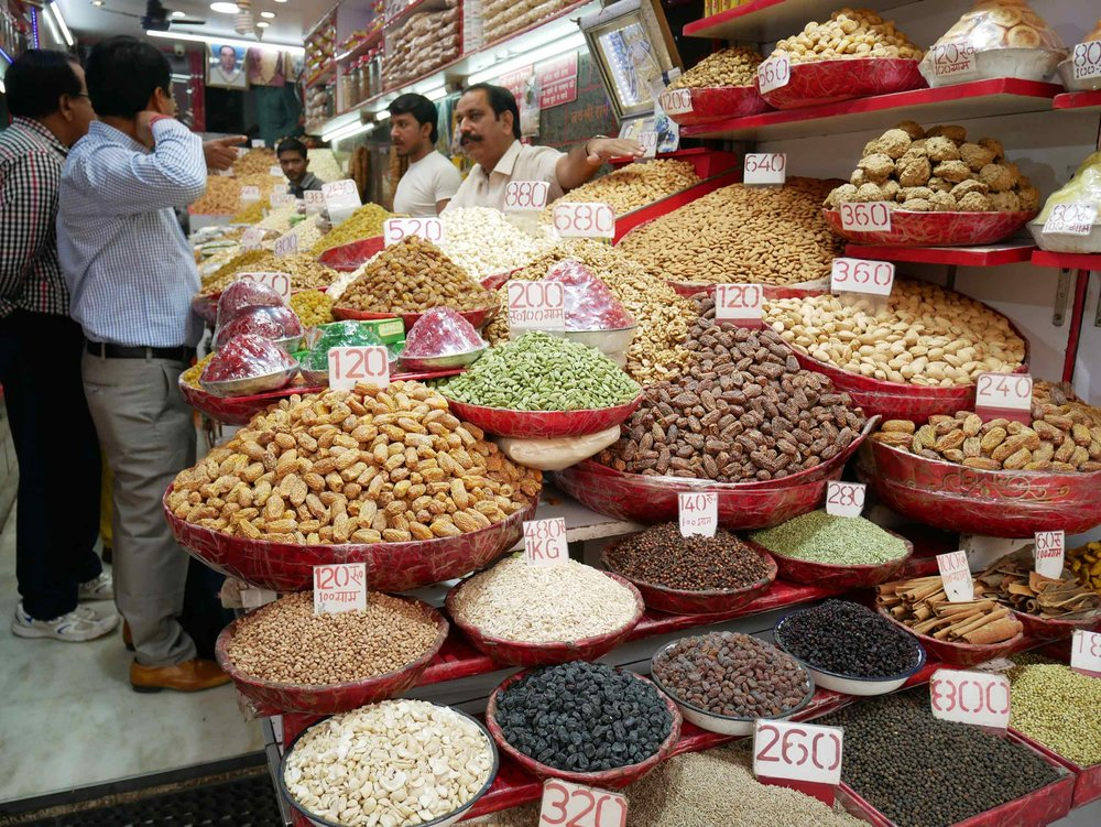 Spices, nuts, dried herbs and fruits can be found in the stalls of Old Delhi.