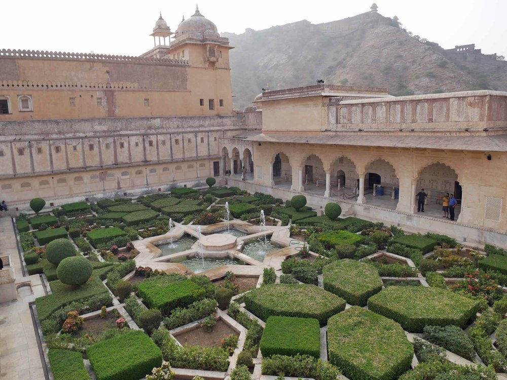 Ornamental gardens adorn the inner courtyards of Jaipur's Amer (or Amber)Palace.