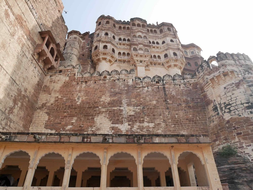 Mehrangarh is one of the largest forts in India; built in 1460 by Rao Jodha, it is situated 410 feet above the city and enclosed by imposing thick walls.