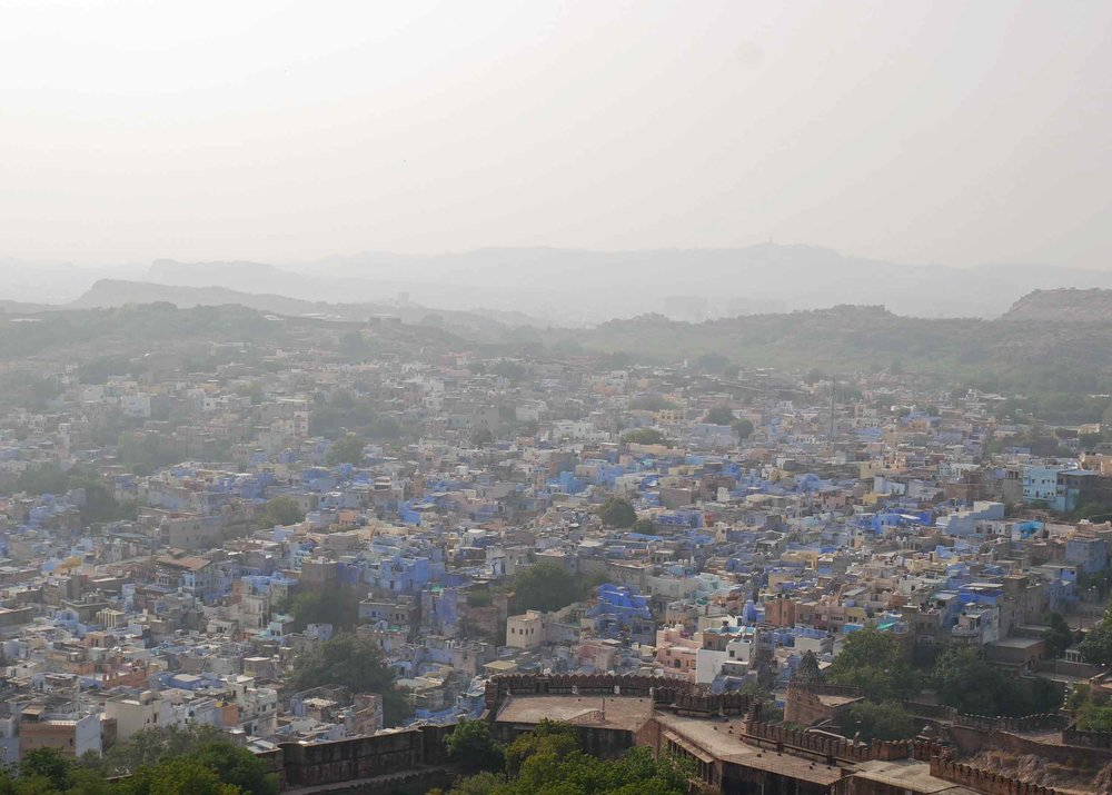 """Jodhpur is known as the """"Blue City"""" as many of the old city's buildings are painted hues of blue in order to keep the houses cooler in the blistering summer sun."""