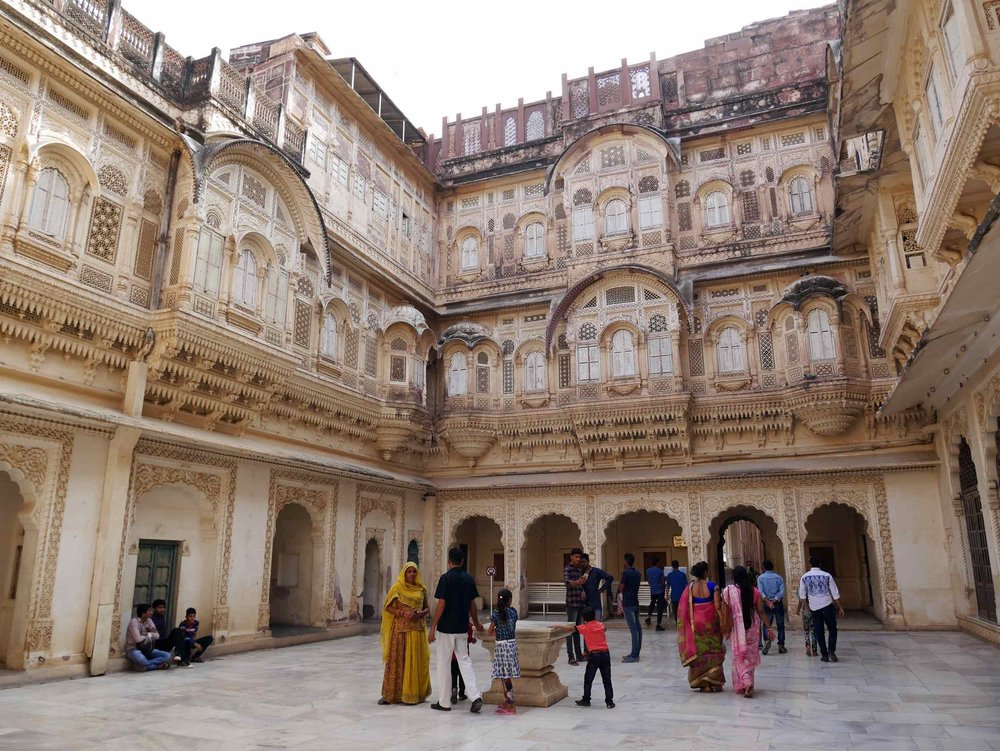 One of the beautiful inner courtyards of the Mehrangarh Palace.