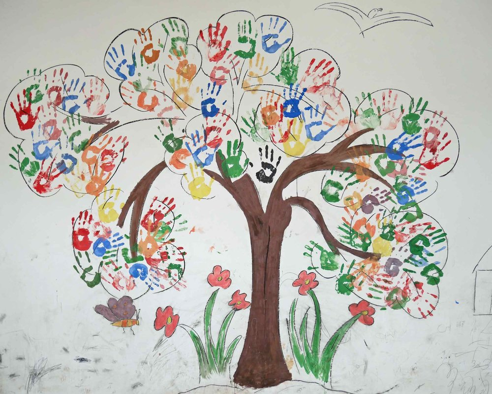 Students helped to decorate their new school.