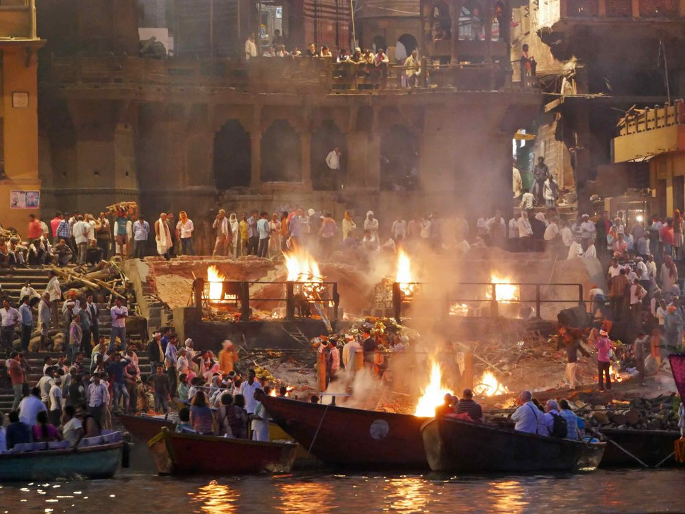 The Manikarnika Ghat is one of the holiest among the sacred  ghats  (riverfronts). It is believed that a dead human's soul finds salvation (moksha)when cremated here.