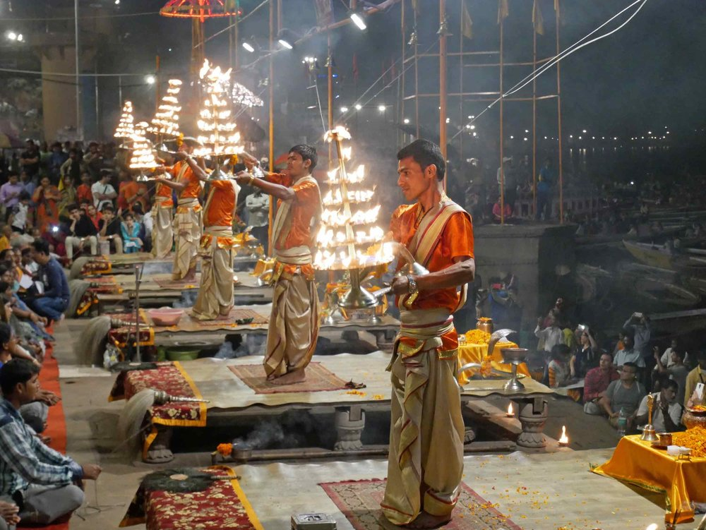 The spectacular Hindu ritual called the 'Ganga Aarti' held at the banks of the River Ganges.