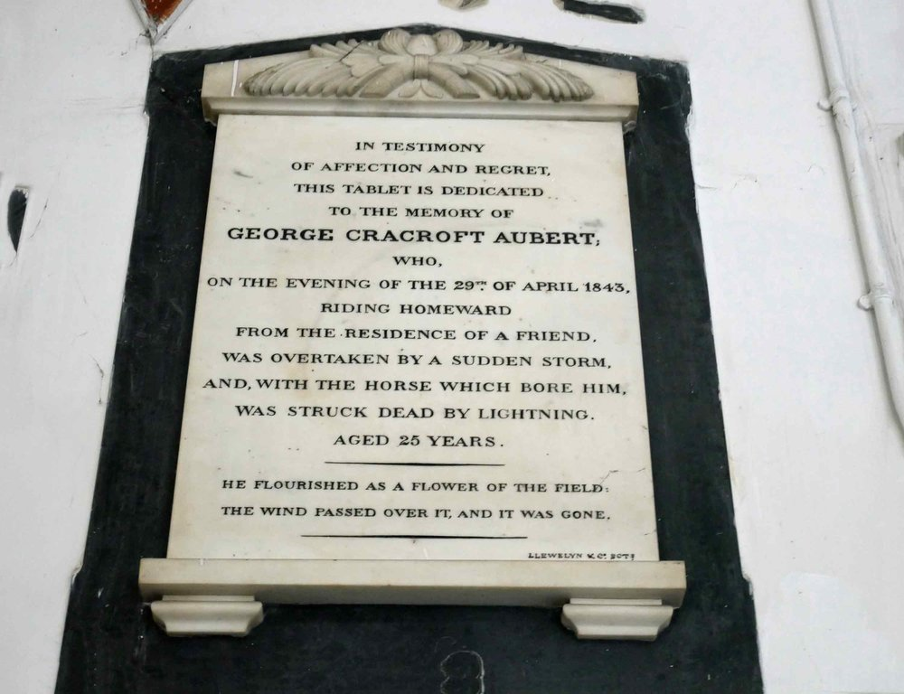 Plaque in St. John's Church, one of the first buildings erected by the East India Co., speaks to a parishioner's untimely and unfortunate demise (Nov 20).