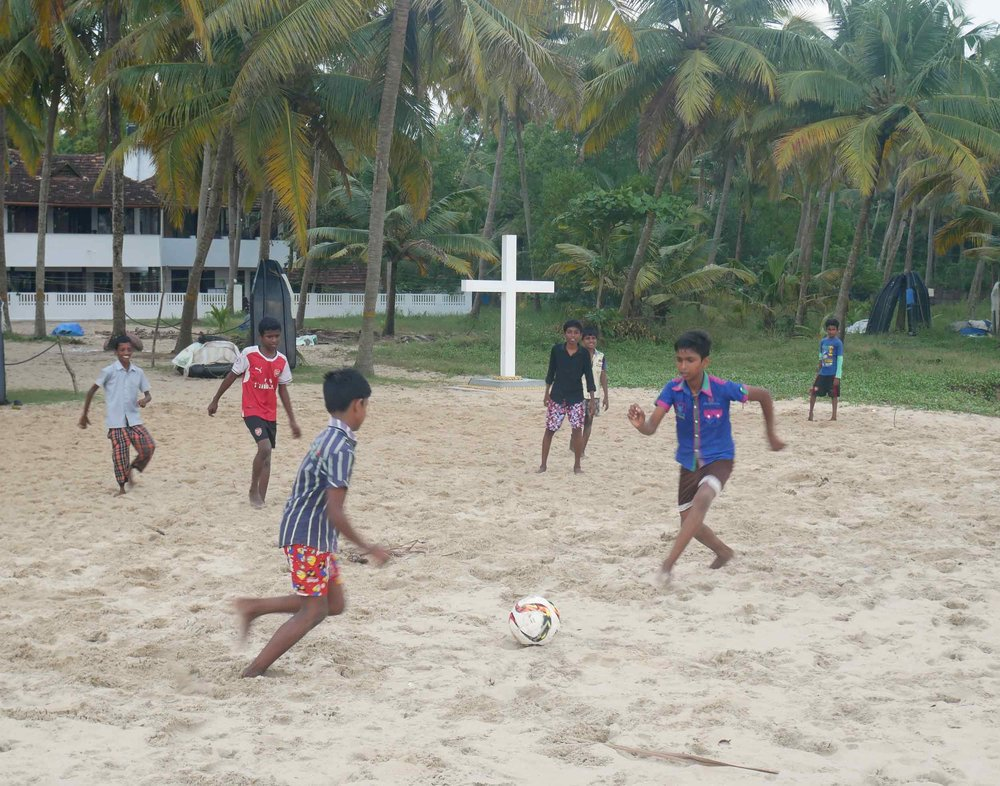 Children playing soccer on Marari beach, our final destination in India (Dec 2).