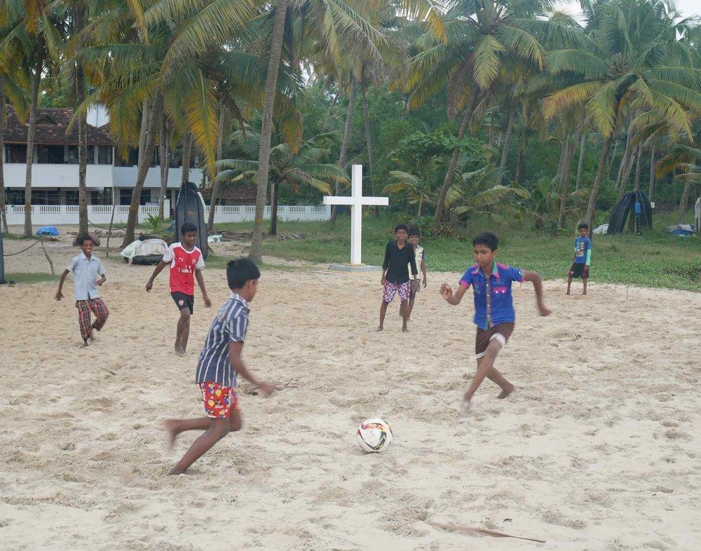 Children playing soccer on Marari beach, our final destination in India (Dec 2).