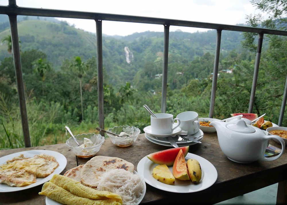Our Ella guesthouse absolutely spoiled us with these spectacular views and breakfast served daily on our private terrace (Dec 16).