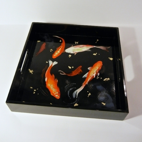 "Tray Fishie:  12x12"" oil and gold leaf on lacquered tray: for the Quogue Library exhibition, ""Tray Jolie"""
