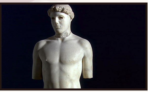 "The ""Kritian Boy"": Greek sculpture that is a realistic depiction of the human body-480BC."