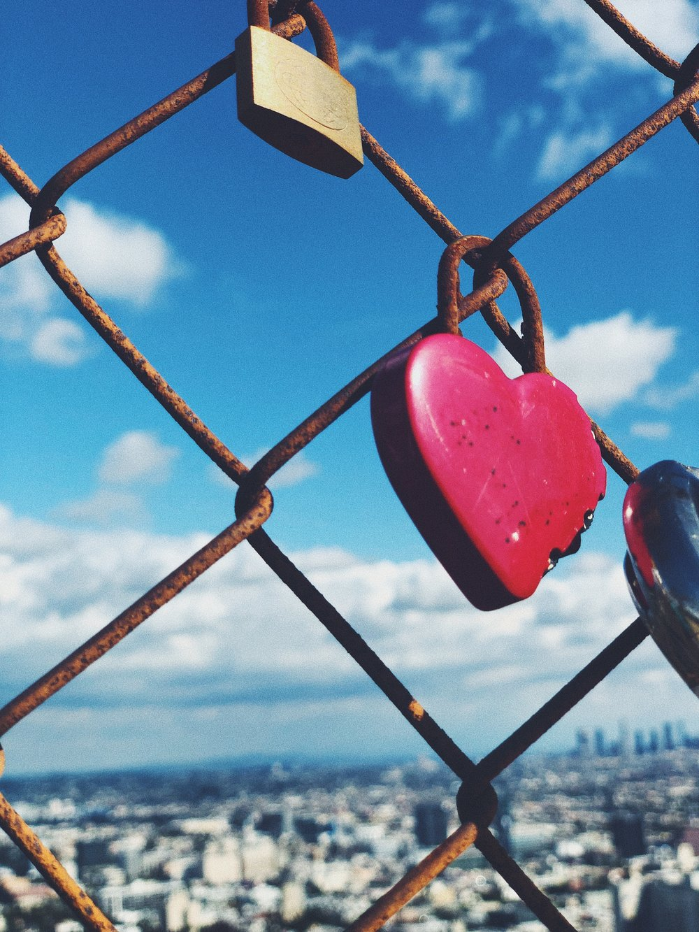 "Love Locks In Runyon Canyon Park - ""A love lock is a padlock which sweethearts lock to a bridge, fence, gate, monument, or similar public fixture to symbolize their love."" But seriously…how cute?!"