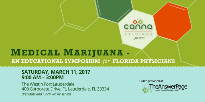 This March, our author Dr. Greg Smith will present on Alzheimer's Disease: Preventing & Halting Progression with Cannabis alongside other noted medical cannabis industry professionals at the  South Florida Medical Marijuana Symposium for Physicians.    Physicians, Nurses, and Health Care Providers: join us for an engaging day of education and discussion with 13 experts in the field and over 300 fellow attendees. On January 3rd, Amendment 2 went into affect. Gain insight on how to best answer your patients' questions and provide the safest and most effective care possible.    Conference Website:   http://bit.ly/2j4bF2h