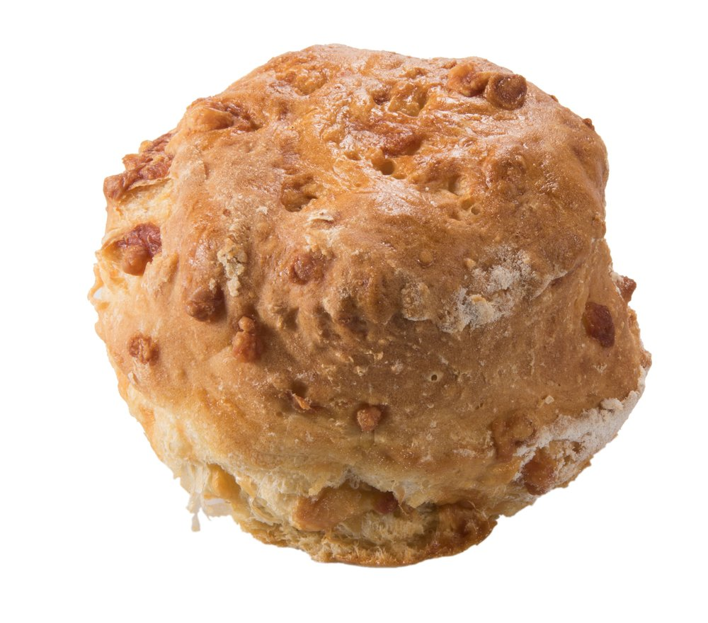 3 Cheese Scone    The perfect savoury scone, moist and bursting with cheesy goodness – best eaten warm spread liberally with butter.  125g – 30 per batch   Item Number: 5084   Also available uncooked.   Item Number: M5094